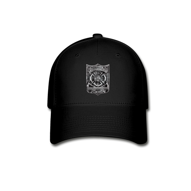 Burned FF Badge Baseball Cap w/Logo on Front and Back - MY TEE USA