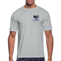 Blue Lives Matter w/Heart Police Badge Men's Moisture Wicking Performance T-Shirt w/Police Badge in Cross on Back - MY TEE USA
