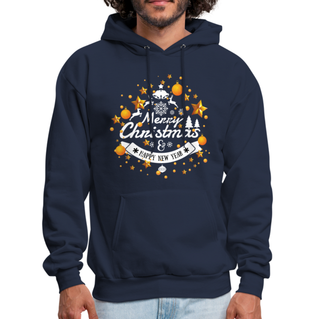 Merry Christmas n Happy New Year Men's Hoodie w/Logo on Chest and Back - MY TEE USA