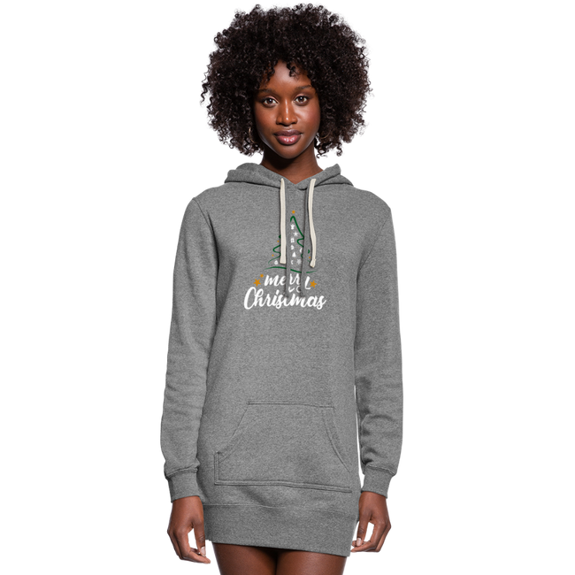 A Merry Christmas Womens Hoodie Dress, w/Logo on Chest and Sleeves - MY TEE USA
