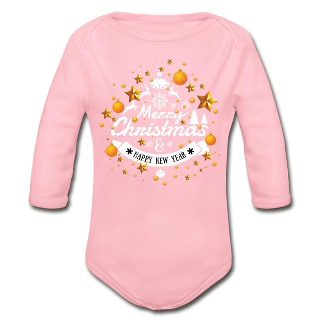 Merry Christmas n Happy New Year An Organic Long Sleeve Baby Bodysuit - MY TEE USA