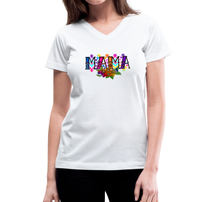 =MAMA Women's V-Neck T-Shirt w/Logo on Chest and Back - MY TEE USA
