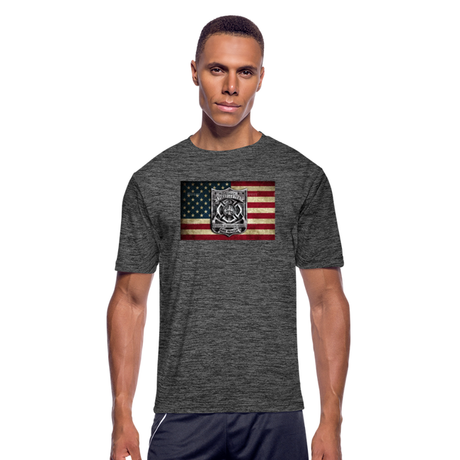 BURNED BADGE ON BURNT FLAG MEN'S MOISTURE WICKING PERFORMANCE T-SHIRT W/LOGO ON CHEST - MY TEE USA