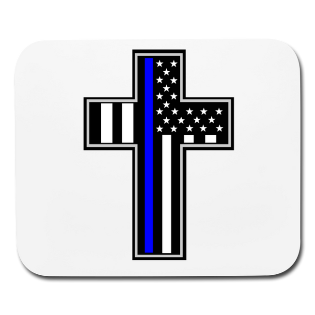 Police Flag in Cross Mouse Pad - MY TEE USA