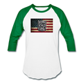 Burned Badge on Burnt Flag Baseball T-Shirt w/Logo on Chest and Back Label - MY TEE USA