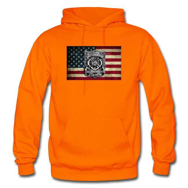 Burned Badge on Burnt Flag Gildan Heavy Blend Unisex Hoodie w/Logo on Chest and Back Label - MY TEE USA