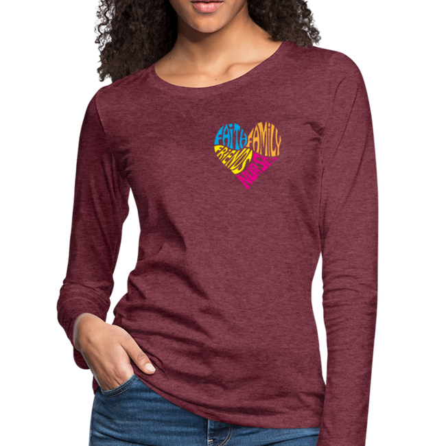 Women's Premium Long Sleeve T-Shirt - heather burgundy