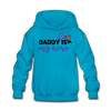 Daddys My Hero Kids' Hoodie w/Logo on Chest - turquoise