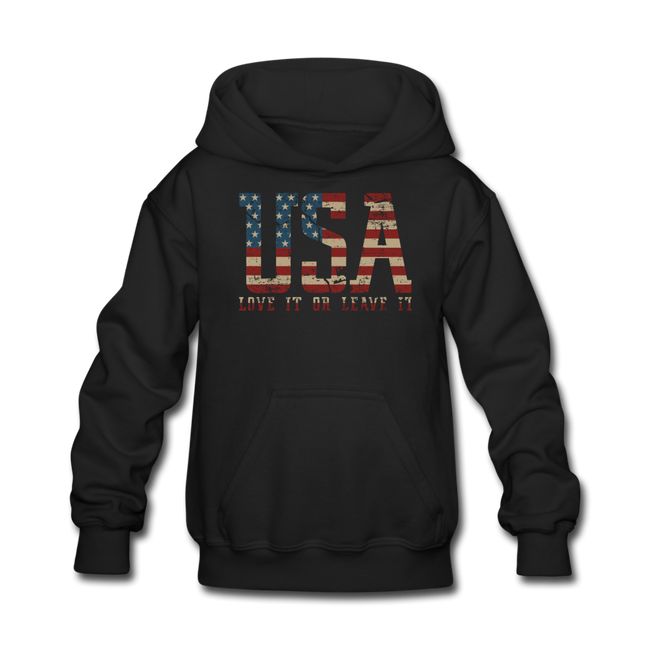 USA Love It Kids' Hoodie - black