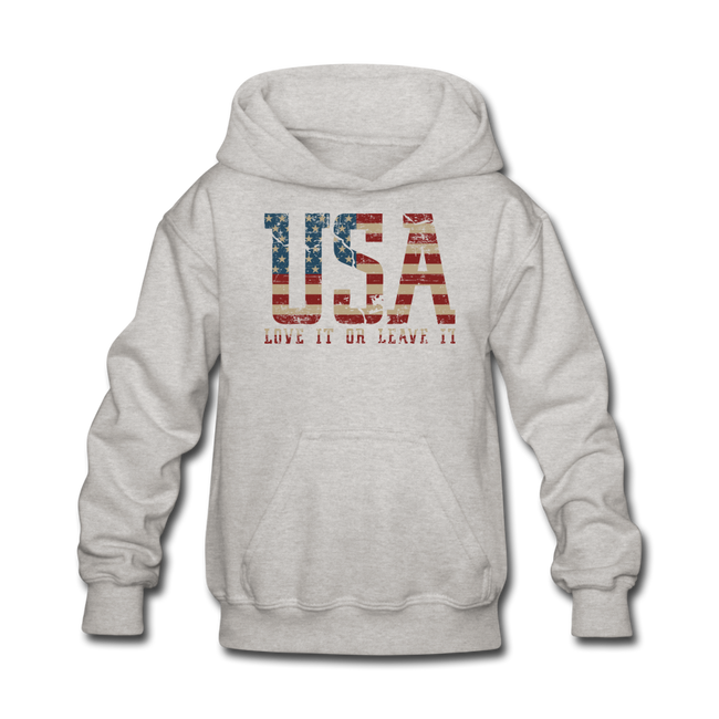 USA Love It Kids' Hoodie - heather gray