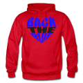 Back the Blue Heart Gildan Heavy Blend Unisex Hoodie w/Logo on Chest - red