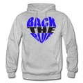Back the Blue Heart Gildan Heavy Blend Unisex Hoodie w/Logo on Chest - heather gray