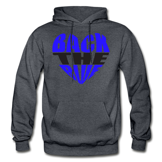 Back the Blue Heart Gildan Heavy Blend Unisex Hoodie w/Logo on Chest - charcoal gray