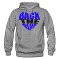 Back the Blue Heart Gildan Heavy Blend Unisex Hoodie w/Logo on Chest - graphite heather