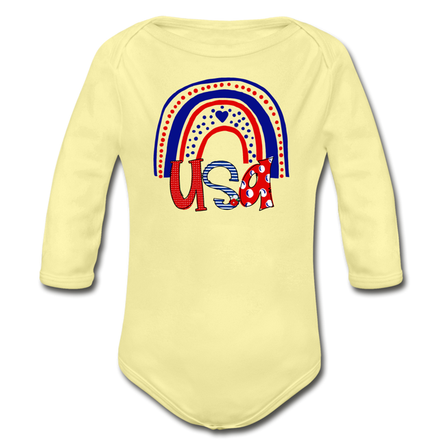 USA Rainbow Organic Long Sleeve NB to 18M Baby Bodysuit - washed yellow