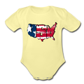 USA Map 1 to 18M Organic Short Sleeve Baby Bodysuit - washed yellow