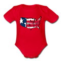 USA Map 1 to 18M Organic Short Sleeve Baby Bodysuit - red