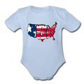 USA Map 1 to 18M Organic Short Sleeve Baby Bodysuit - sky