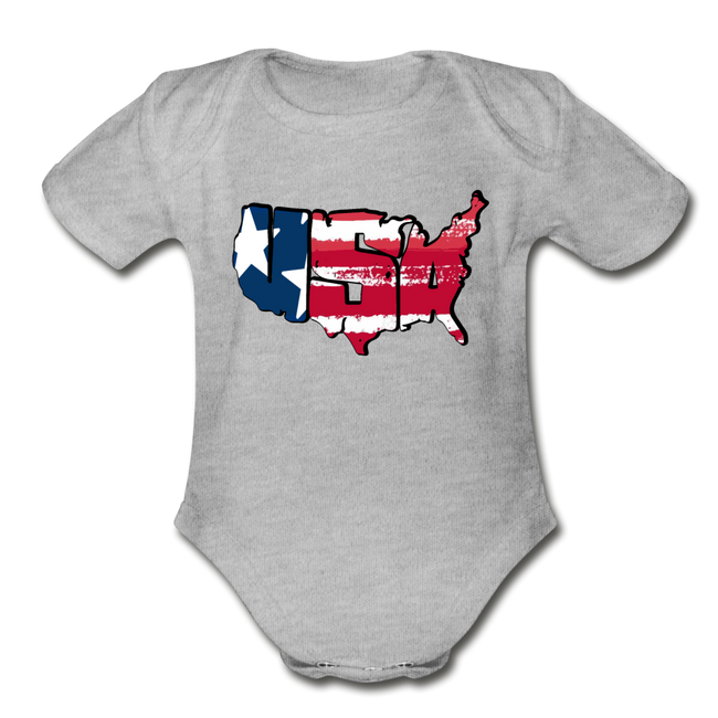 USA Map 1 to 18M Organic Short Sleeve Baby Bodysuit - heather gray
