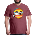 The Man Men's Premium T-Shirt w/Logo on Chest and Back Label - heather burgundy