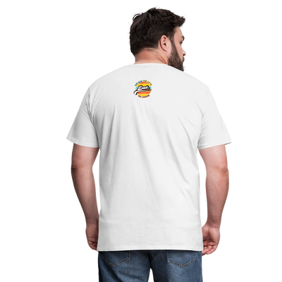 The Man Men's Premium T-Shirt w/Logo on Heart and Back Label - white