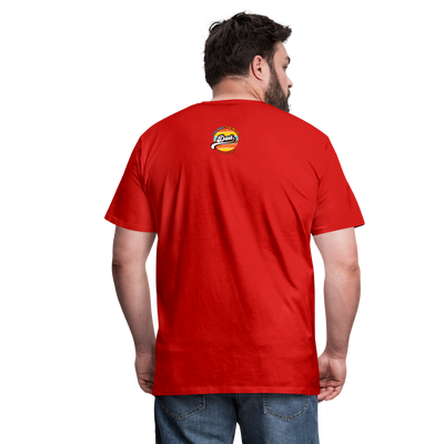 The Man Men's Premium T-Shirt w/Logo on Heart and Back Label - red