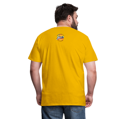 The Man Men's Premium T-Shirt w/Logo on Heart and Back Label - sun yellow