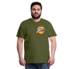 The Man Men's Premium T-Shirt w/Logo on Heart and Back Label - olive green