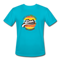 The Man Men's Moisture Wicking Performance T-Shirt w/Logo on Chest - turquoise