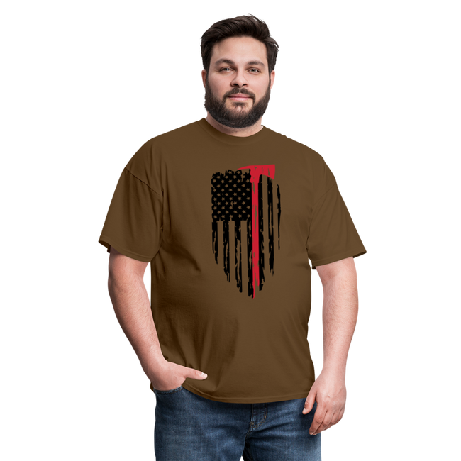 FF Flag w/Hatchet Unisex Short Sleeve Jersey Tee W/Logo on Chest - brown