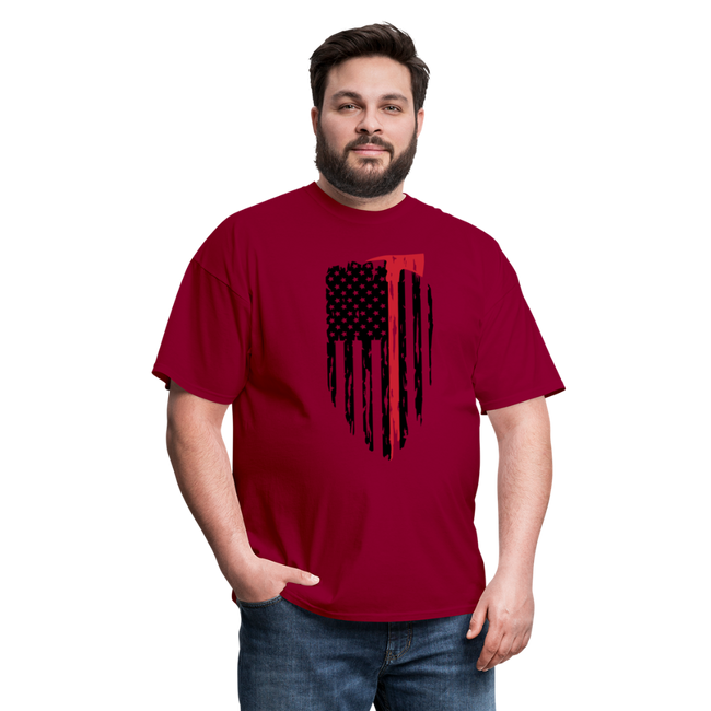 FF Flag w/Hatchet Unisex Short Sleeve Jersey Tee W/Logo on Chest - dark red