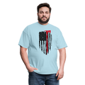 FF Flag w/Hatchet Unisex Short Sleeve Jersey Tee W/Logo on Chest - powder blue