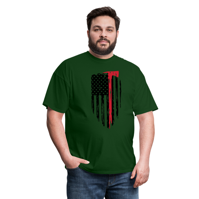 FF Flag w/Hatchet Unisex Short Sleeve Jersey Tee W/Logo on Chest - forest green