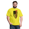 FF Flag w/Hatchet Unisex Short Sleeve Jersey Tee W/Logo on Chest - yellow
