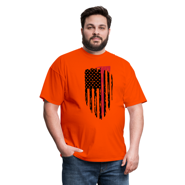 FF Flag w/Hatchet Unisex Short Sleeve Jersey Tee W/Logo on Chest - orange