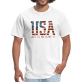 USA Love It Unisex Short Sleeve Fruit of the Loom w/Logo on Chest and Back Label - white
