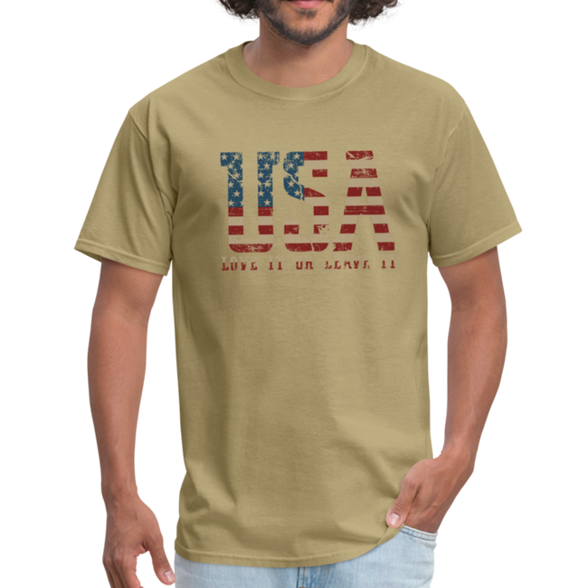 USA Love It Unisex Short Sleeve Fruit of the Loom w/Logo on Chest and Back Label - khaki