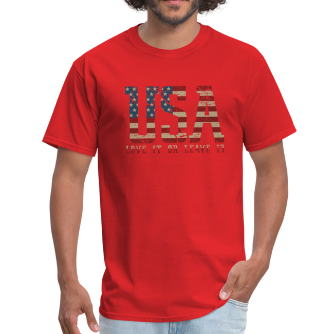USA Love It Unisex Short Sleeve Fruit of the Loom w/Logo on Chest and Back Label - red