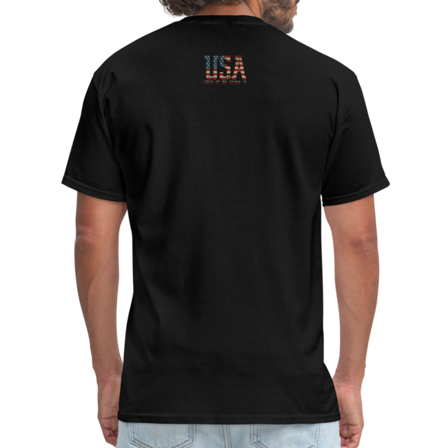 USA Love It Unisex Short Sleeve Fruit of the Loom w/Logo on Chest and Back Label - black