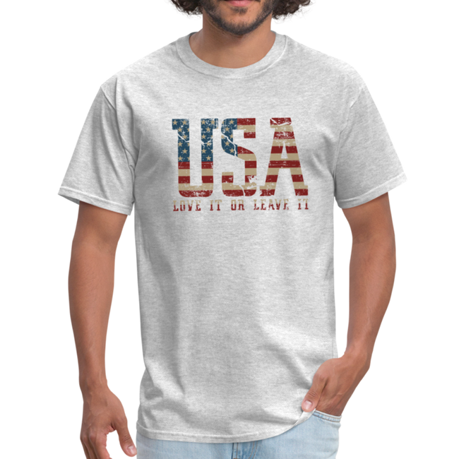 USA Love It Unisex Short Sleeve Fruit of the Loom w/Logo on Chest and Back Label - heather gray
