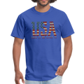 USA Love It Unisex Short Sleeve Fruit of the Loom w/Logo on Chest and Back Label - royal blue