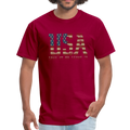 USA Love It Unisex Short Sleeve Fruit of the Loom w/Logo on Chest and Back Label - dark red