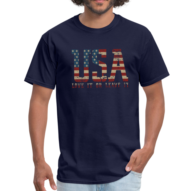 USA Love It Unisex Short Sleeve Fruit of the Loom w/Logo on Chest and Back Label - navy
