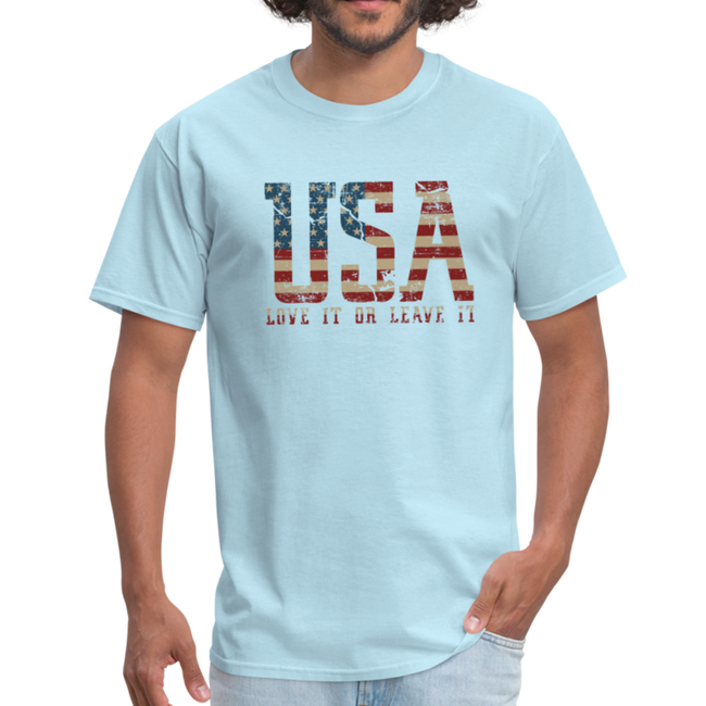 USA Love It Unisex Short Sleeve Fruit of the Loom w/Logo on Chest and Back Label - powder blue