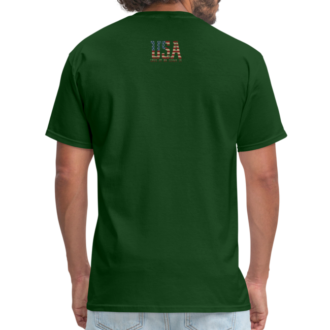 USA Love It Unisex Short Sleeve Fruit of the Loom w/Logo on Chest and Back Label - forest green