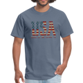 USA Love It Unisex Short Sleeve Fruit of the Loom w/Logo on Chest and Back Label - denim