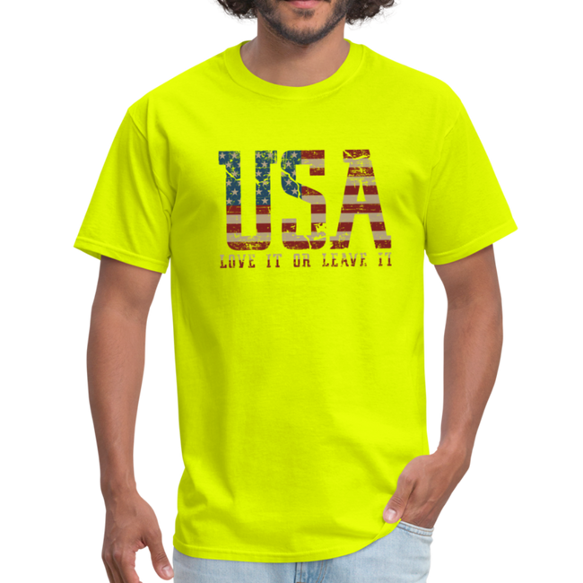 USA Love It Unisex Short Sleeve Fruit of the Loom w/Logo on Chest and Back Label - safety green