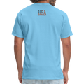USA Love It Unisex Short Sleeve Fruit of the Loom w/Logo on Chest and Back Label - aquatic blue