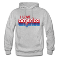 I Love America Gildan Heavy Blend Unisex Hoodie w/Logo on Chest ans USA Shaped Flag on Back - heather gray