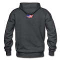 I Love America Gildan Heavy Blend Unisex Hoodie w/Logo on Chest ans USA Shaped Flag on Back - charcoal gray